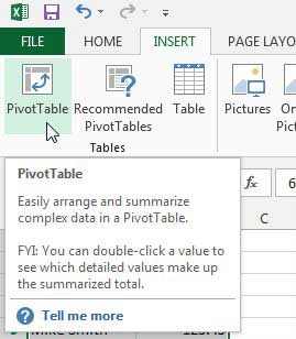 Pivot Table in Microsoft Excel 2013
