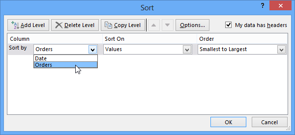 Sort in Microsoft Excel 2013