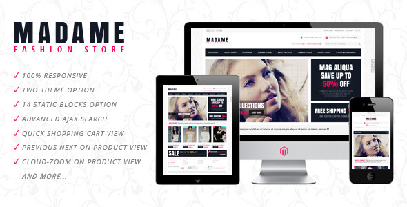 Madame Responsive Fashion Store Magento Theme Cover